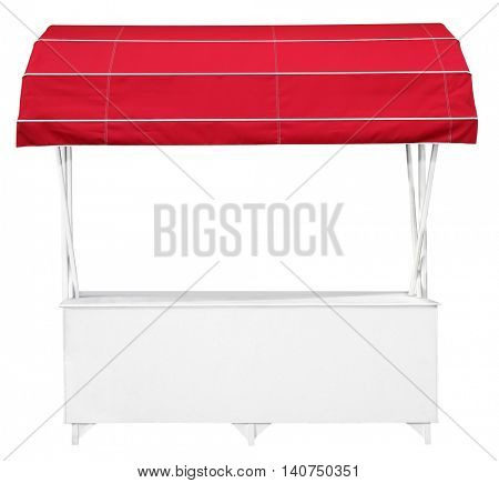 White market stall with awning red