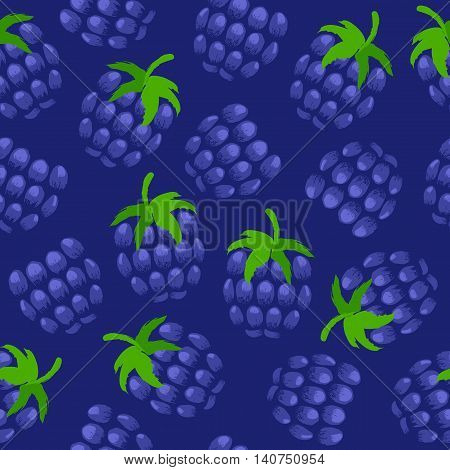 Blackberry painted vector seamless pattern. Berries background. Painted fruits. Hand drawn paintbrush sketch.
