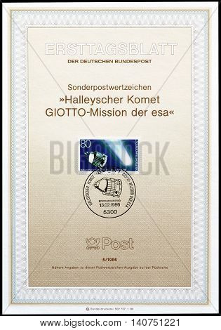 GERMANY - CIRCA 1986 : Cancelled First Day Sheet printed by Germany, that shows Satellite.