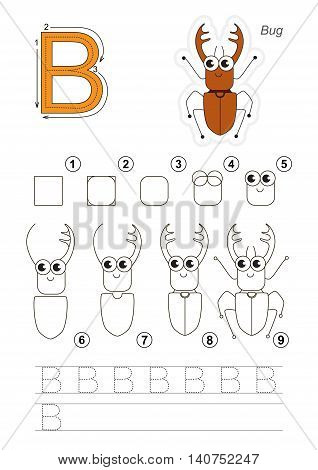 Complete vector illustrated alphabet with kid games. Learn handwriting. Easy educational kid game. Simple level of difficulty. Gaming and education. Drawing tutorial for letter B. The beetle.