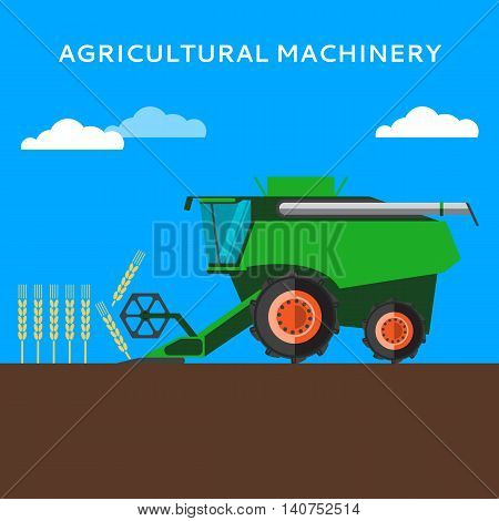 Agricultural combine machine is harvesting on the wheat field, colorful vector flat illustration