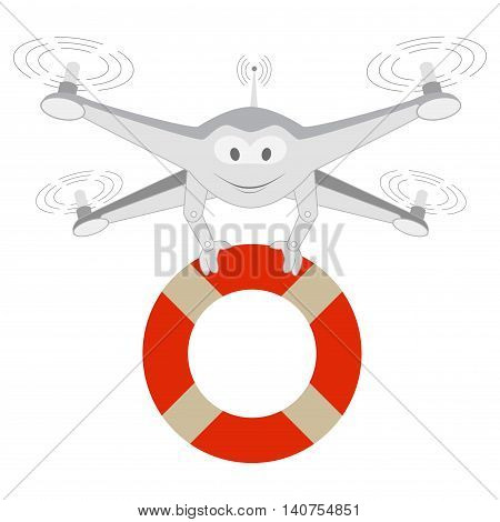 Funny Drone. Lifeline Isolated Series cartoon Drones