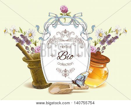 Vector herbal banner with mortar, honey, wild flowers and herbs. Design for herbal tea, natural cosmetics, health care products, homeopathy, aromatherapy. With place for text. Can be used as logo design