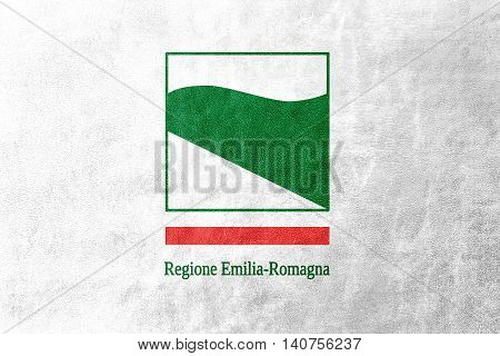 Flag Of Emilia-romagna, Italy, Painted On Leather Texture