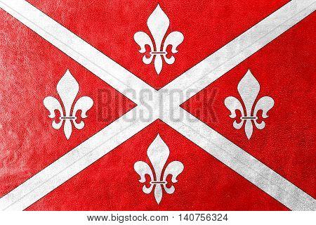 Flag Of Floresti, Moldova, Painted On Leather Texture