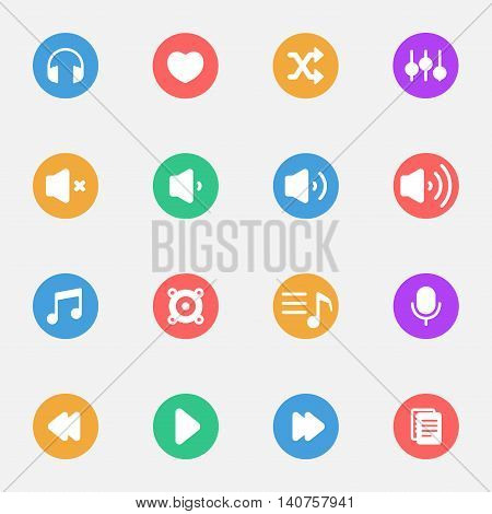 Music and Player flat icons on the color substrate