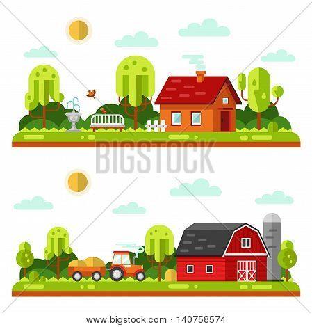 Flat design vector landscape illustrations with farm building, house, bench, fountain or drinking bowls for birds, tractor. Farming, agricultural, organic products concept.