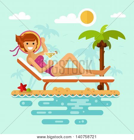 Flat design vector nature landscape illustration of sunbathing girl on tropical beach. Including sun, palm, coconut, deck chair, cocktail, hat, starfish. Summer vacation, perfect holidays concept.