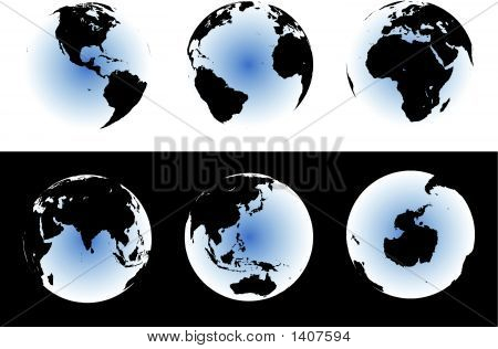 World Map On Glowing Globes