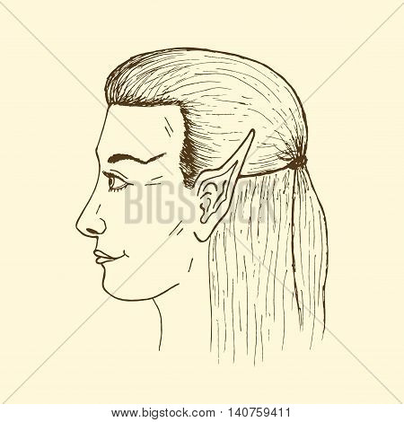 Profile of a young elf. Vector hand drawing elf's face.