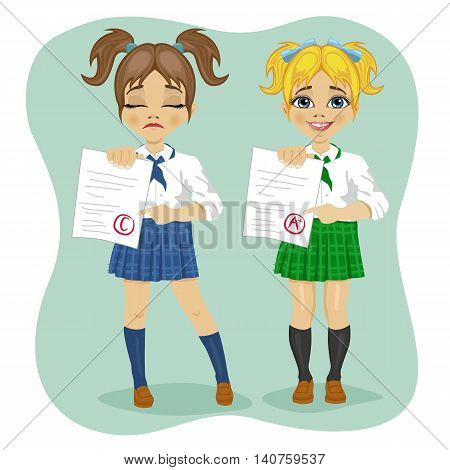 illustration of young schoolgirls showing exam with good and bad test results