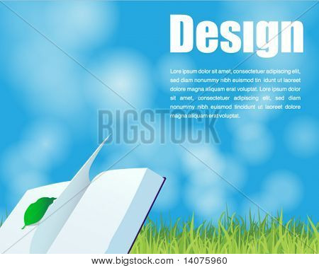 book on the grass and blue sky background