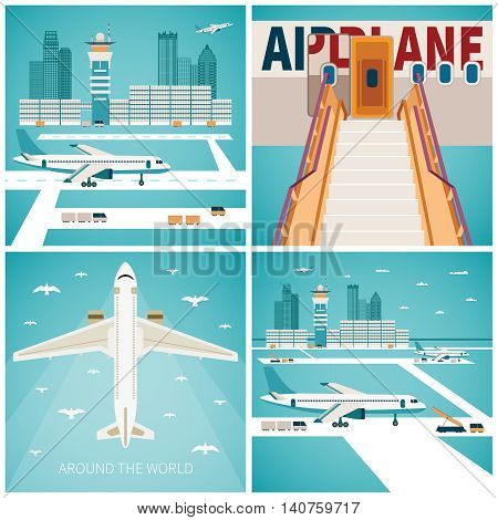 Airport Vector Concepts Set In Flat Style