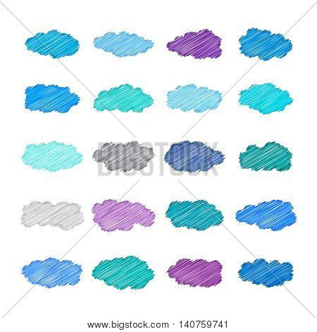 Vector Cumulus Clouds Set In Doodle Style