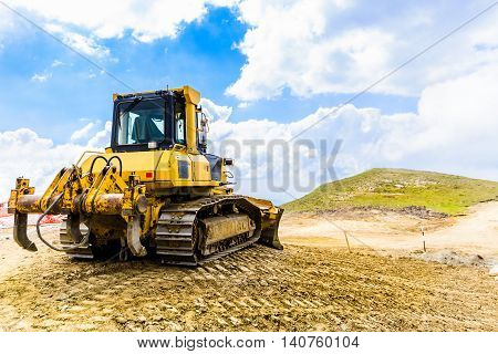 Yellow Bulldozer On Tracks