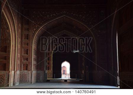 Bird flying inside Taj Mahal, Agra, Uttar Pradesh, India