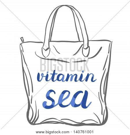 Vitamin sea. Brush hand lettering. Handwritten words on a sample tote bag. Great for beach tote bags, swimwear, holiday clothes, and more.