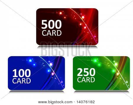 Bonus und Geschenk-Karten mit leuchtenden Hintergrund