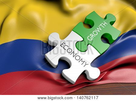 Colombia economy and financial market growth concept, 3D rendering