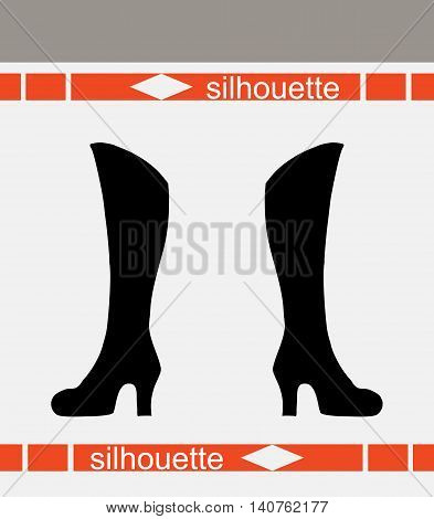 Women's boots. Beautiful silhouettes vector illustration. Business footwear fashion concept.