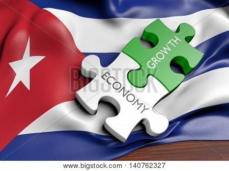 Cuba economy and financial market growth concept, 3D rendering