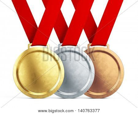 Gold, silver and bronze medals with red ribbons isolated on white background - 3d illustration