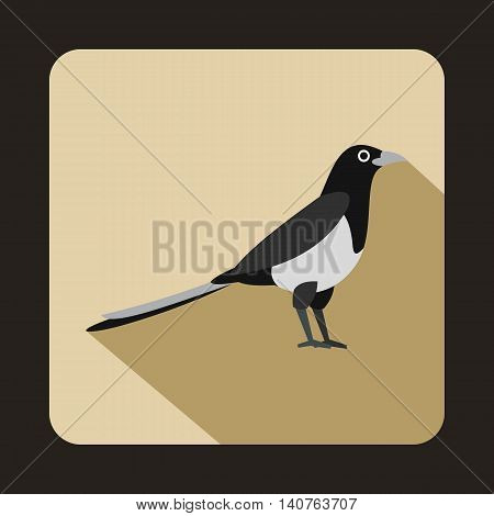 Magpie icon in flat style on a beige background