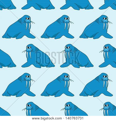 Vector seamless pattern from blue cartoon walruses