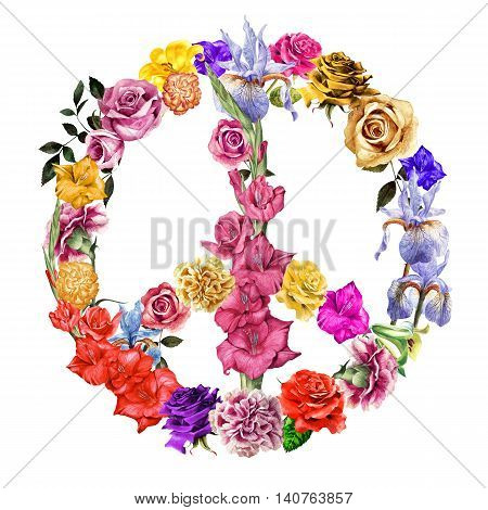 Peace symbol made up of detailed painted flowers.