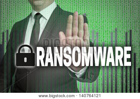 Ransomware With Matrix Is Shown By Businessman