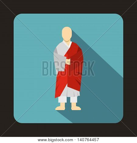 Korean monk icon in flat style on a baby blue background