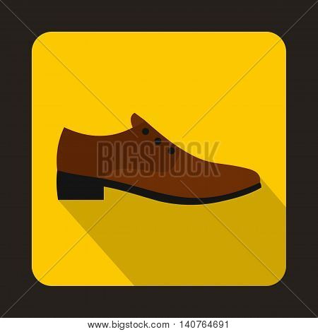 Male brown shoe icon in flat style on a yellow background