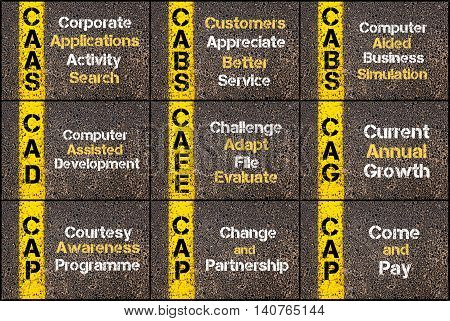 Photo Collage Of Business Acronyms