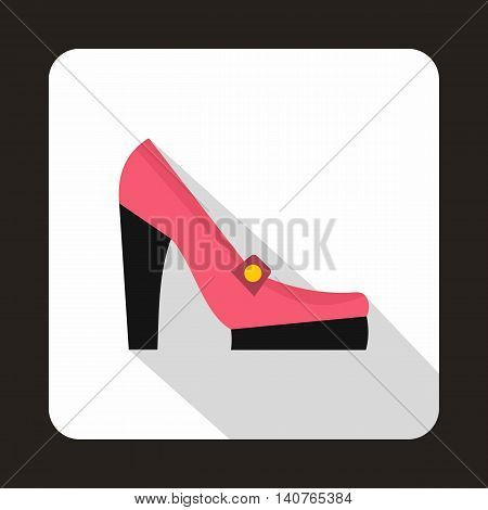 Pink shoes icon in flat style on a baby whute background