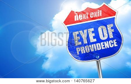 eye of providence, 3D rendering, blue street sign