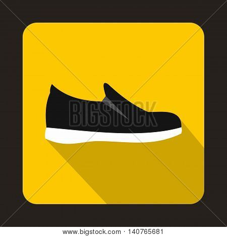 Black shoe with white sole icon in flat style on a yellow background