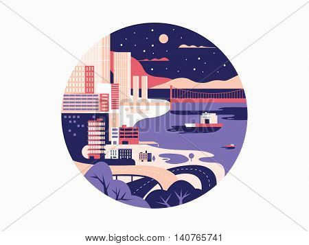 Night megapolis flat design. City with building and urban street. Vector illustration