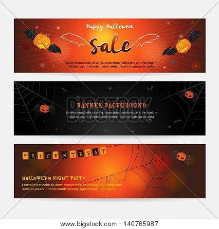 Set of happy Halloween banner background for event sales with evil wings spider web pumpkin spider and bats
