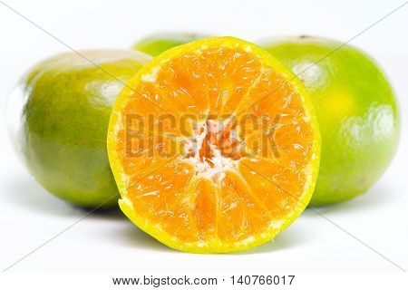 Orange Fruit With Half View Isolated On White