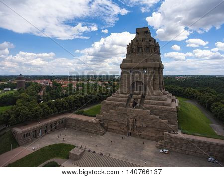 Battle of nations monument in Leipzig, Germany aerial view