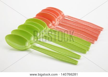 plastic spoon on the white background