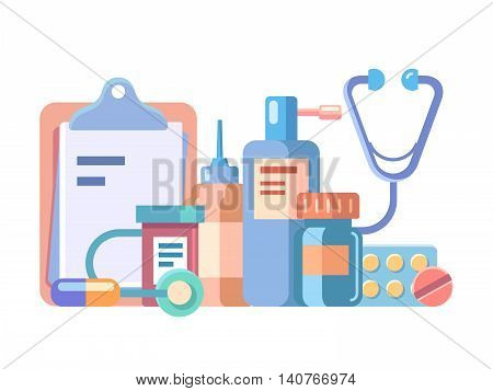 Medication and medical accessories. Medicine care, glass bottle and aid, vector illustration