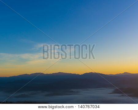 Colorful Sunrise over the mountain hills,Sunrise in mountain,Sunrise landscape