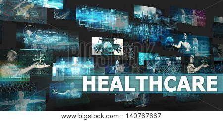Healthcare Presentation Background with Technology Abstract Art 3D Illustration Render