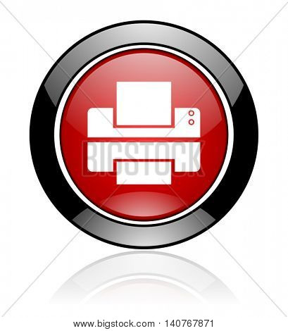 Modern design red and black round glossy printer vector icon