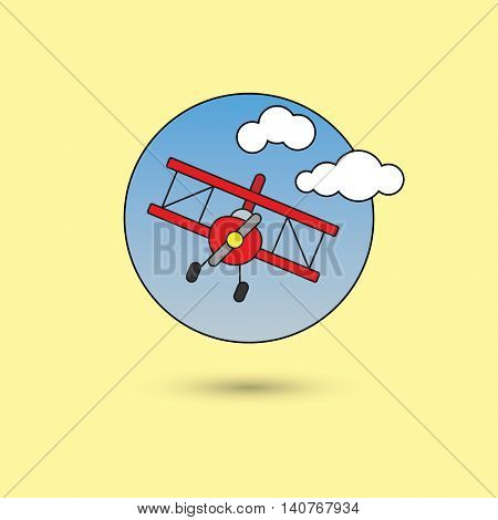 red biplane in the sky, line icon style with color fill
