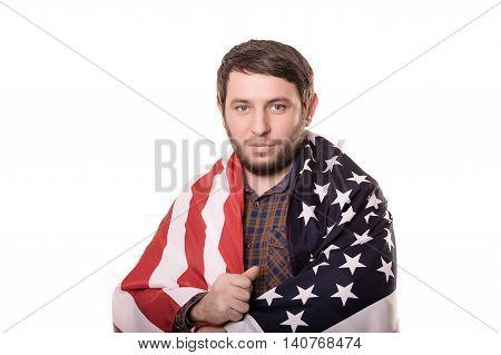 Man Listening National Anthem. Patriot. Isolated On White Background