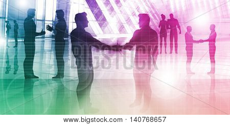 Silhouette of Business People in an Office Building Concept 3D Render