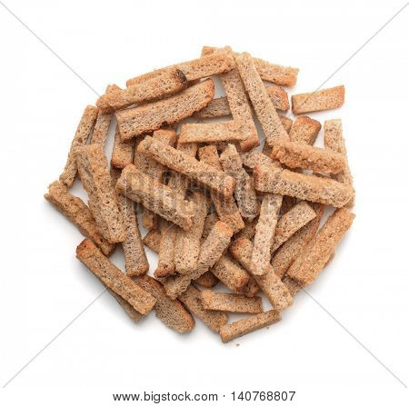 Top view of  rye rusk pile isolated on white