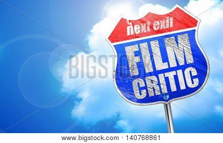 film critic, 3D rendering, blue street sign